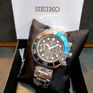 * FREE DELIVERY * Brand New 100% Authentic Seiko Prospex Solar Powered Chronograph Mens Diver Watch with BatMan Black Blue Bezel SSC017 SSC017P1