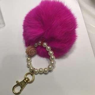 Pink Pom Pom Bag Charm