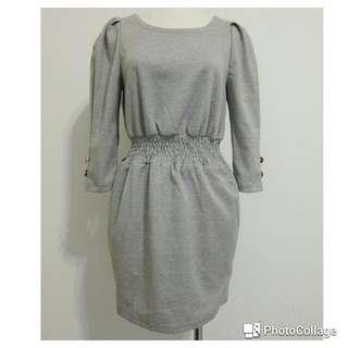 🚚 淺灰棉質七分袖縮腰連身裙