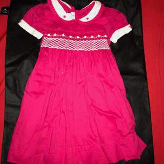 Red Dress with Smocking Ines Moda Infantil 2 years old