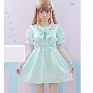 最後清倉 全新 淺綠色修身少女水手領連衣裙 連身裙