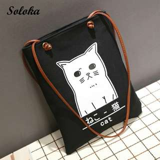 WOMAN TOTE BAG CUTE CAT PATTERN NEKO KUCING BLACK WITH STRING HITAM