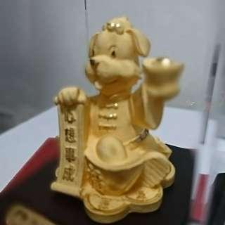 中國人壽24K包金金狗🐶🐶擺設