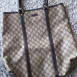 95% New GUCCI Beige And Khaki Coated Canvas Tall Tote Bag