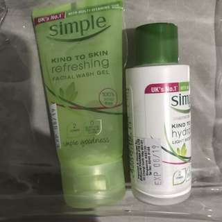 Simple facial wash and light moisturizing