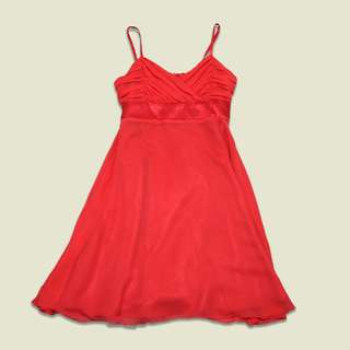 Red orange cocktail dress with bow