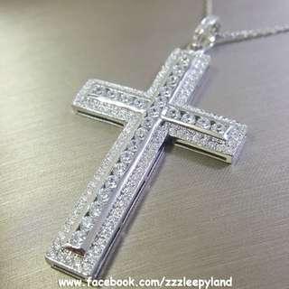 實物拍攝 超閃主石 925純銀6層包金5cm滿鑽十字架高炭鑽吊墜
