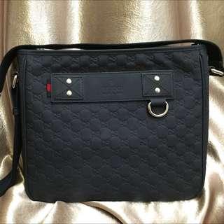 fa937144336 Gucci Messenger Bag. Gucci Messenger Bag. S 799. Navy Blue Rubber  Guccissima Leather ...