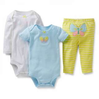 BNIB 6m/18m Carters 3pcs bodysuits pant set butterfly