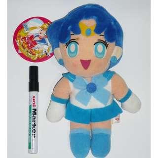 全新 美少女戰士 水野亞美 Sailor Mercury 10寸 毛公仔 吊飾 1994年 Banpresto 眼鏡廠 銀貓貼