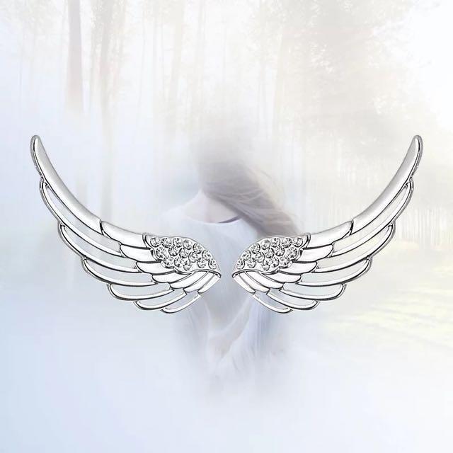925純銀 天使翅膀耳環 陪頂級鋯石