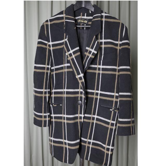 9成9新👉🏻羊毛西裝格紋外套  年前降價 含運