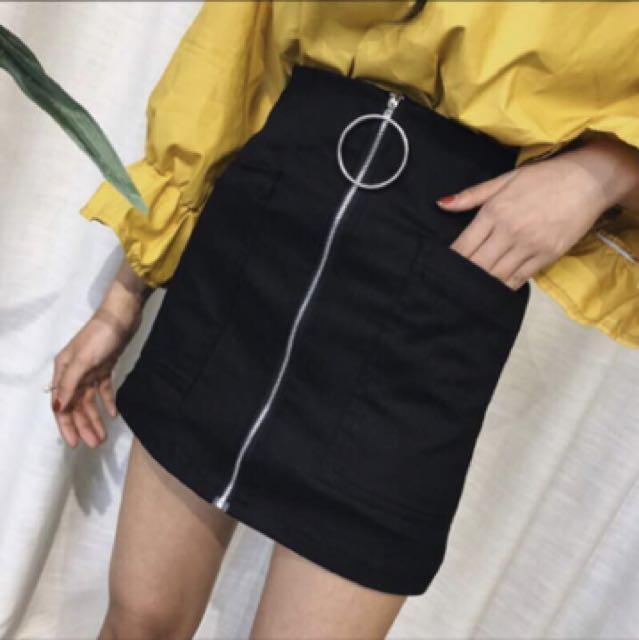 個性圓環高腰褲裙(黑色)