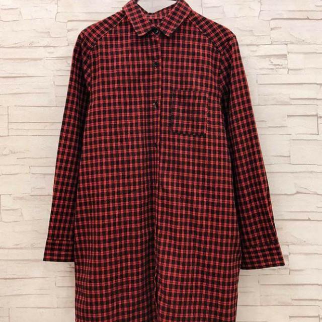 日單長版紅格子襯衫#超取再七折