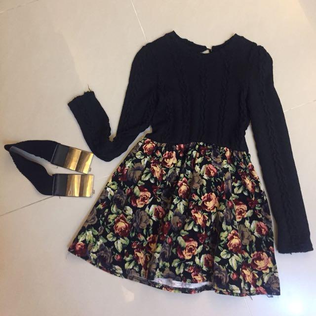 針織花裙洋裝