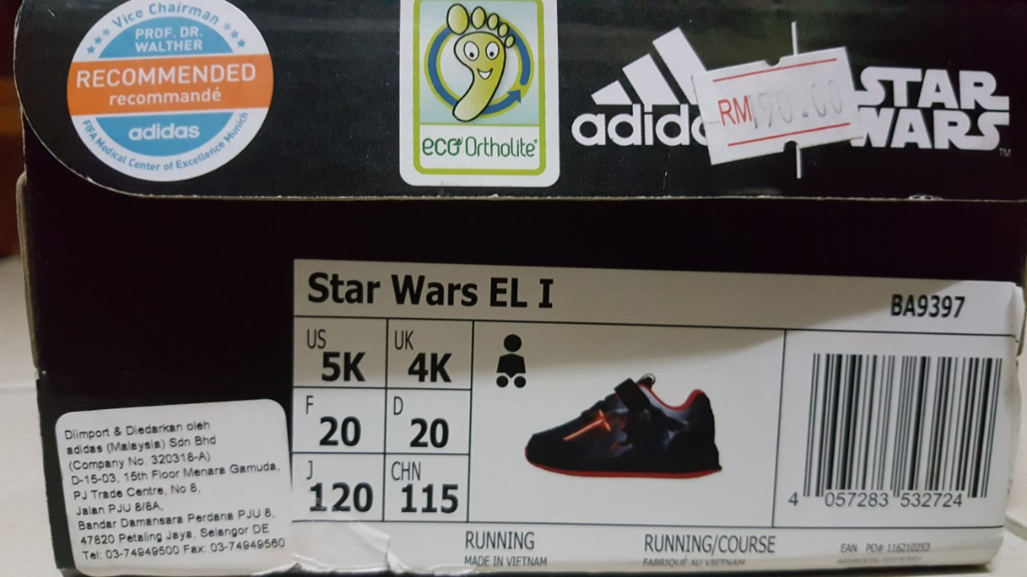 timeless design e8888 07819 Adidas Original Star Wars Kylo Ren Shoes For Kid, Sports, Athletic  Sports  Clothing on Carousell