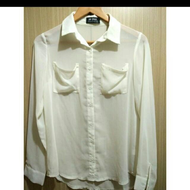 Air space雪紡氣質白襯衫