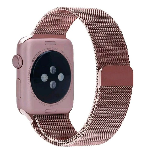 Apple watch bands 42mm rose gold Milanese loop