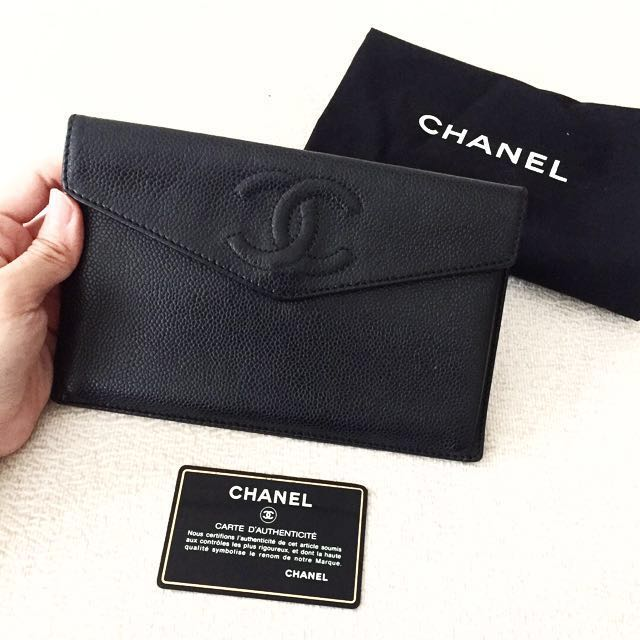 AUTHENTIC CHANEL Caviar Clutch Case Wallet