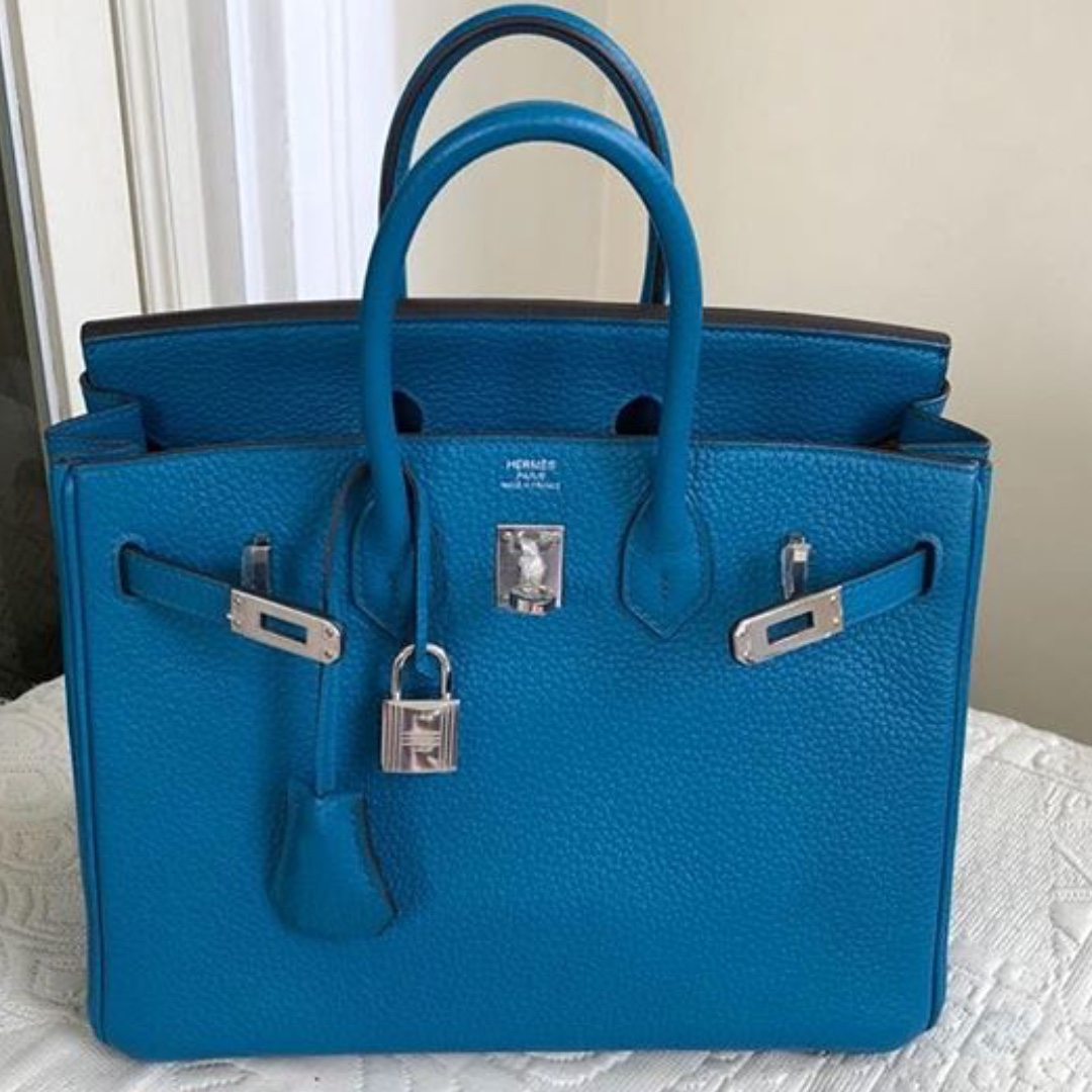 e6a56c0a84b5 Authentic Hermes birkin 25 blue izmir phw stamp T
