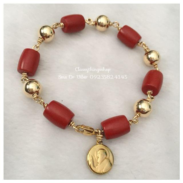 Authentic Red Coral Bracelet in Big Balls w/ St.Benedict
