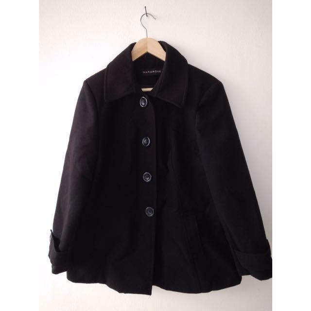 Black coat winter blazer jaket hitam