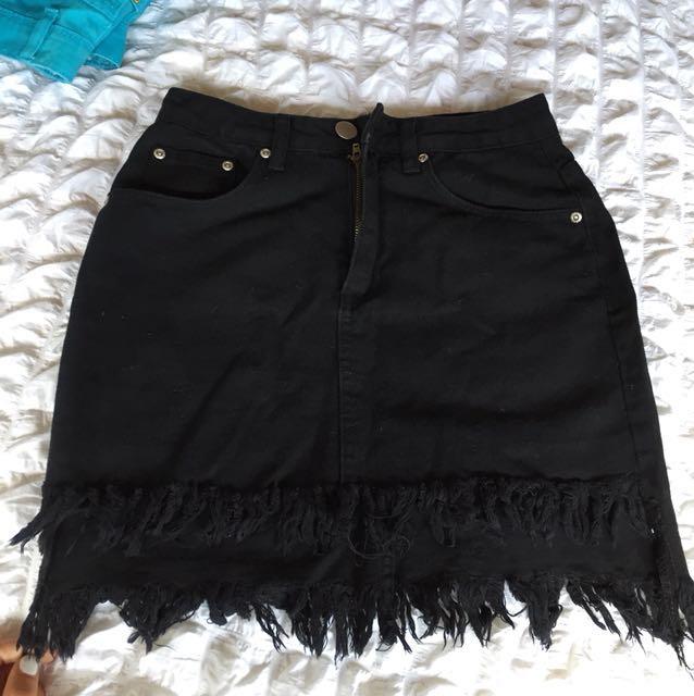 Black Denim Mini Skirt 💥
