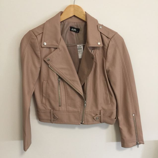 Brand new with tags baby pink leather jacket