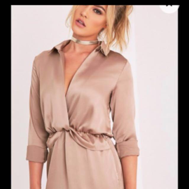 Bronze Satin Shirt Dress
