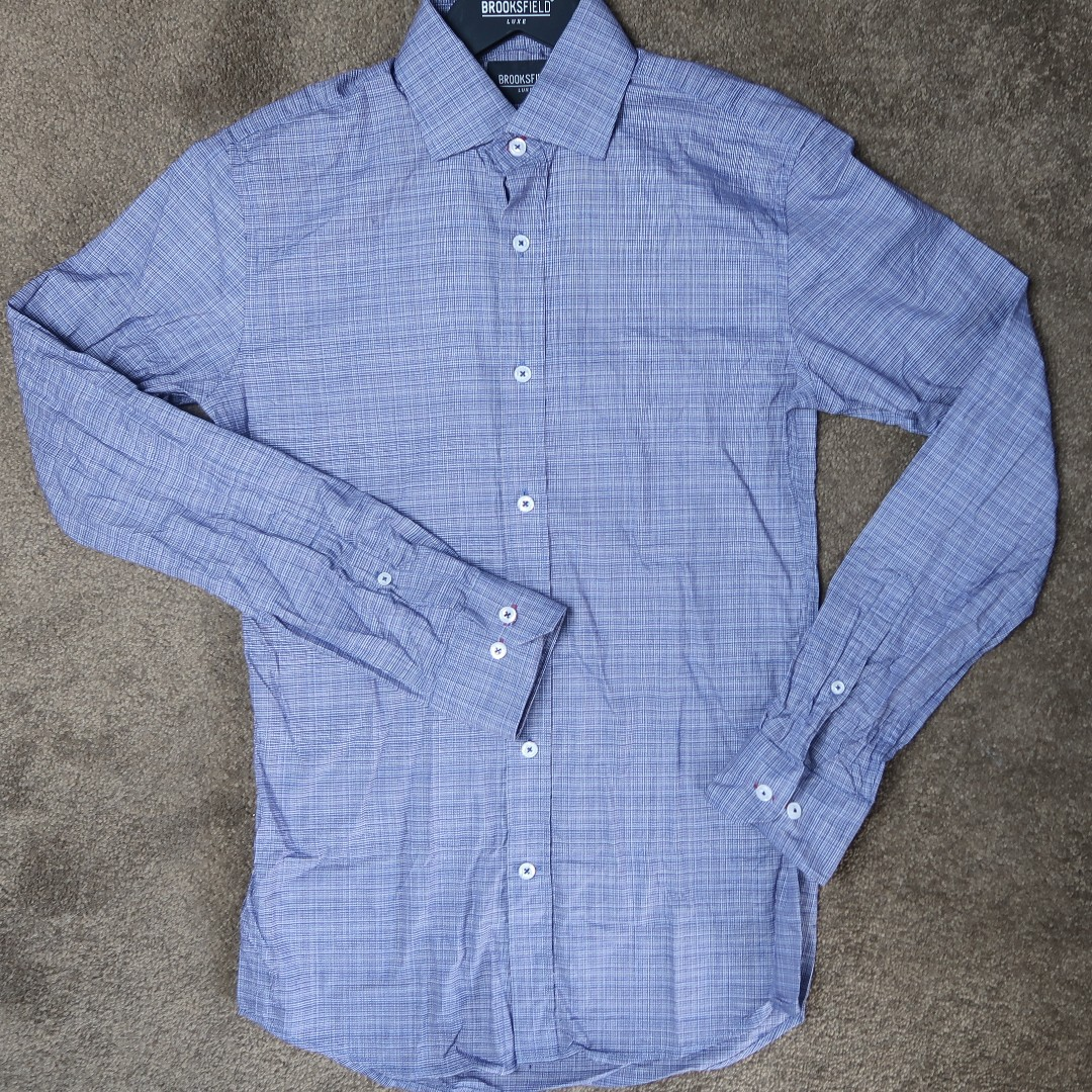 Brooksfield blue slim fit button up shirt