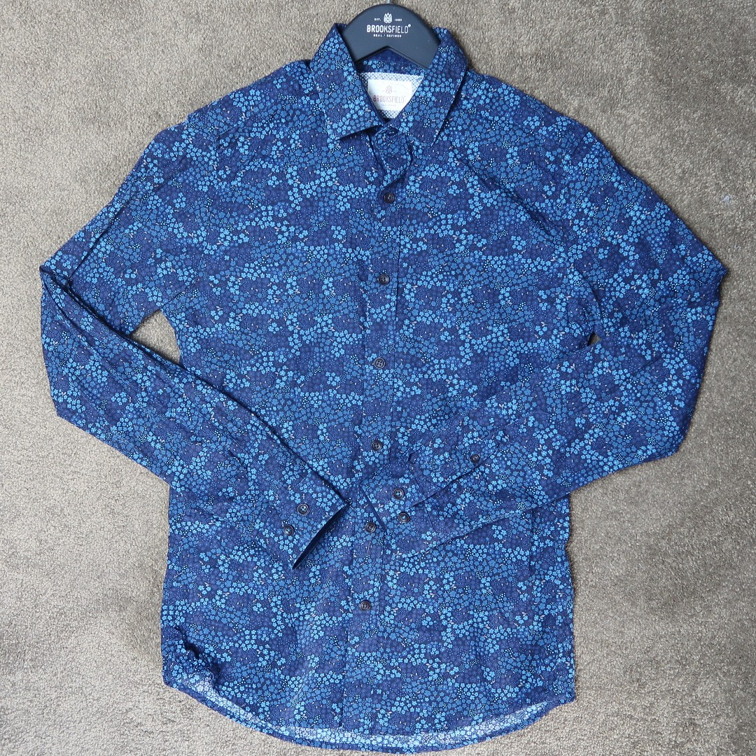 Brooksfield casual slim fit shirt blue floral