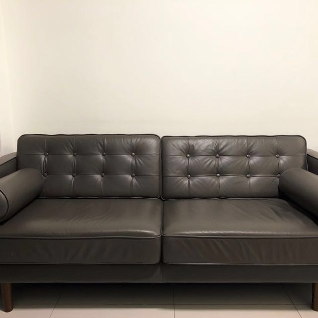 Commune Royce Sofa Grey 3 Seater Full Leather Furniture Sofas On