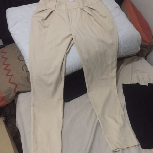 Cream / Beige Pleat Front, Tapered Trousers for Women