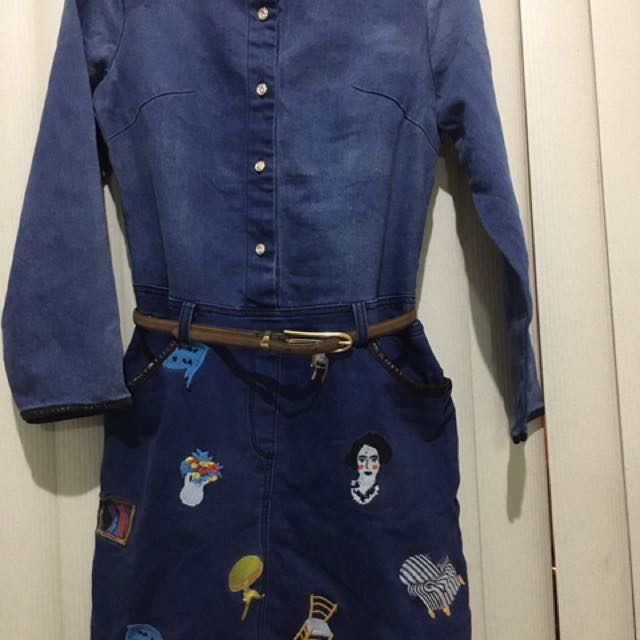 Denim dress with embroidered skirt and faux leather lining