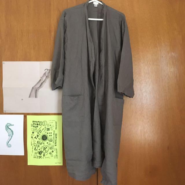 Grey Linen Robe