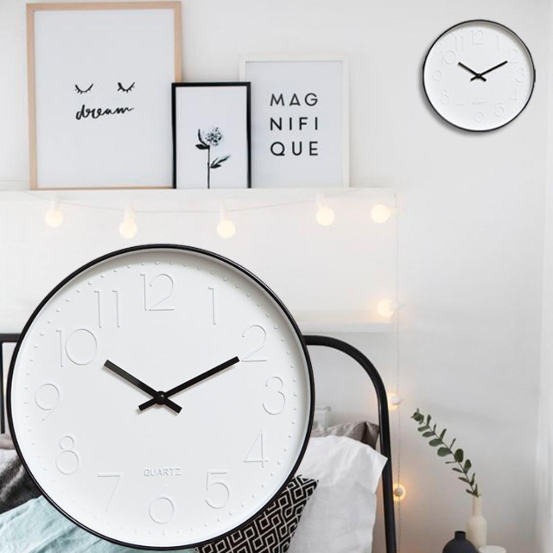 White Artsy Black Frame Wall Clock, Furniture on Carousell