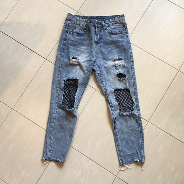 High Waisted Fishnet Jeans