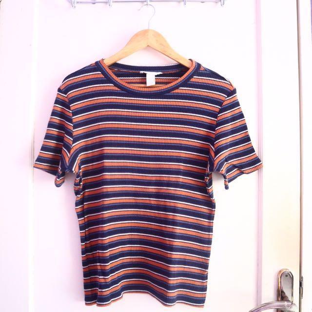 h&m blue orange top