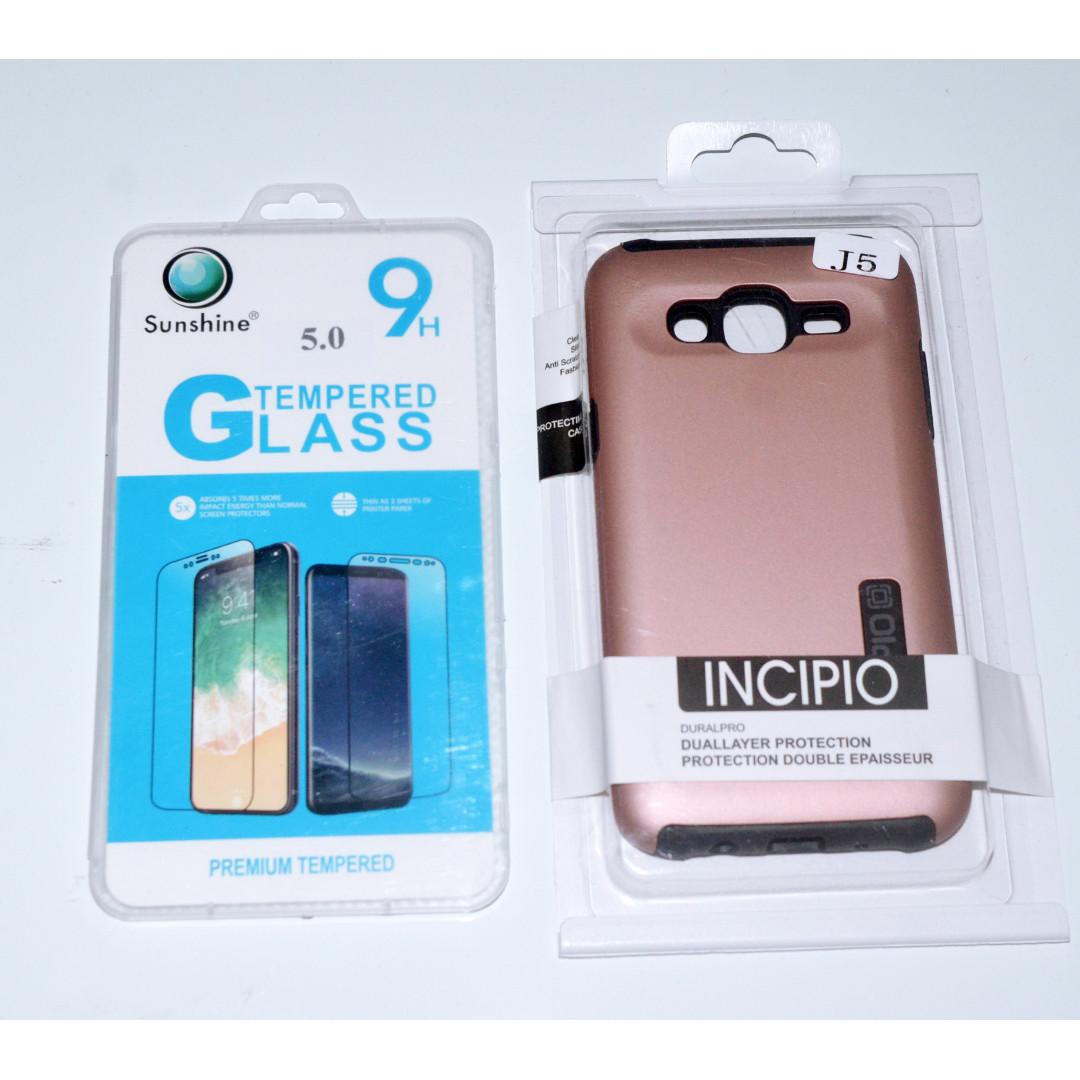 "INCIPIO Case for Samsung J5 Rosegold w/ FREE Tempered Glass 5"" (NEW)"