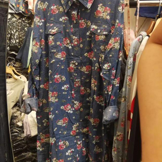 Jean type long blouse