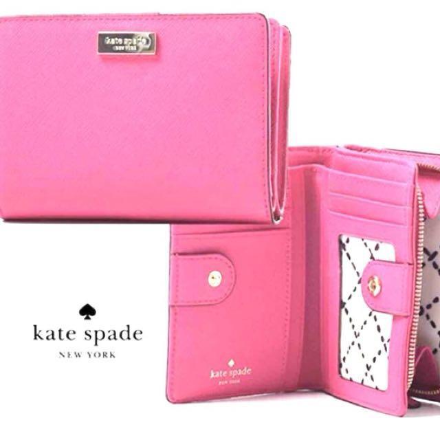 Kate spade桃紅色防刮短夾