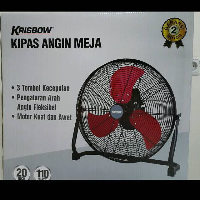KRISBOW DISKON CUCI GUDANG!! TABLE FAN 20 INCH BLACK ASH