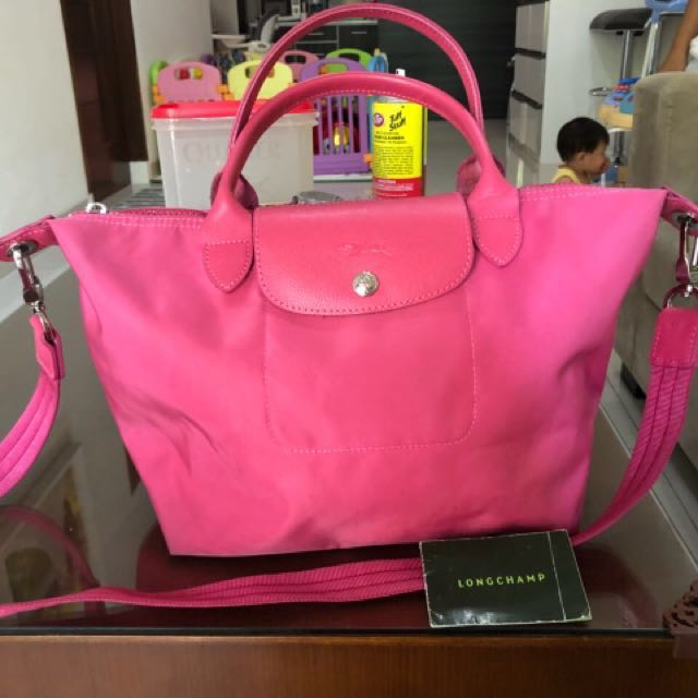 Longchamp Le Pliage hot pink