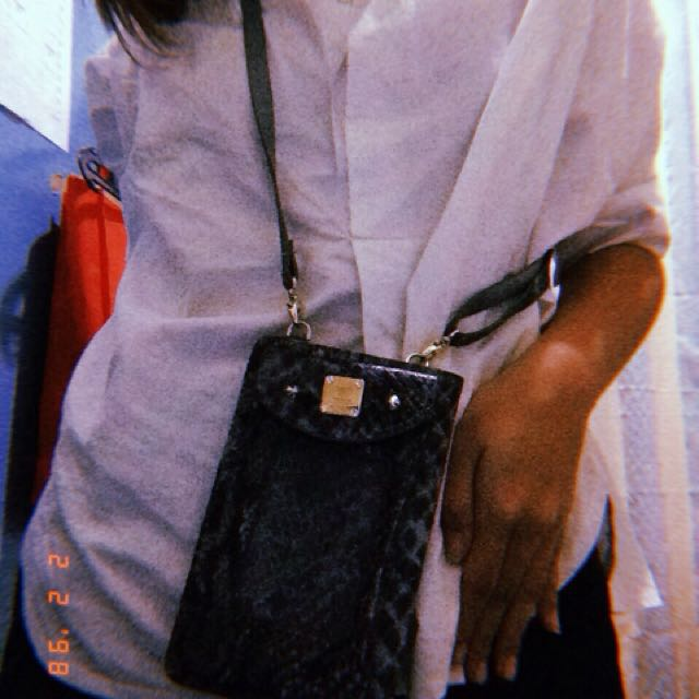Mini bag with snake skin pattern