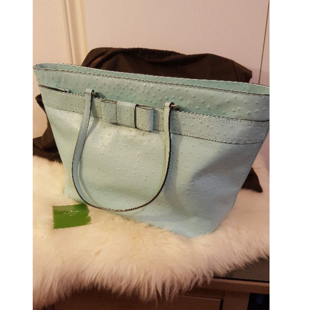 NEW Kate Spade Light Blue Ostrich Valencia Road