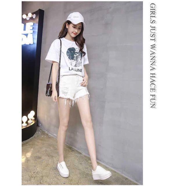 [NEW] Ripped Denim Jeans White Shorts Short Pant