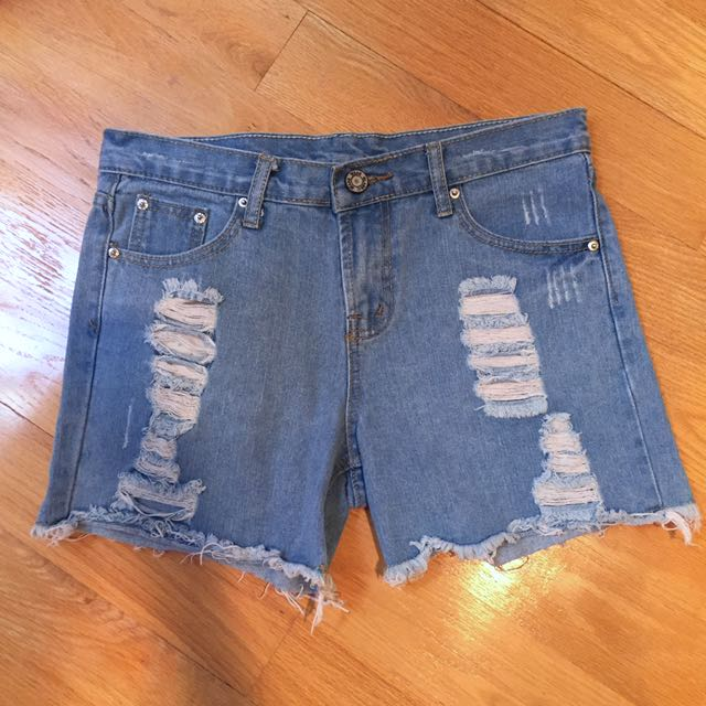 New Ripped Distressed Tomboy Jean Shorts