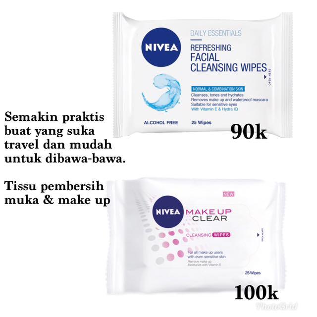 Nivea facial cleansing wipes 90k, make up clear 100k
