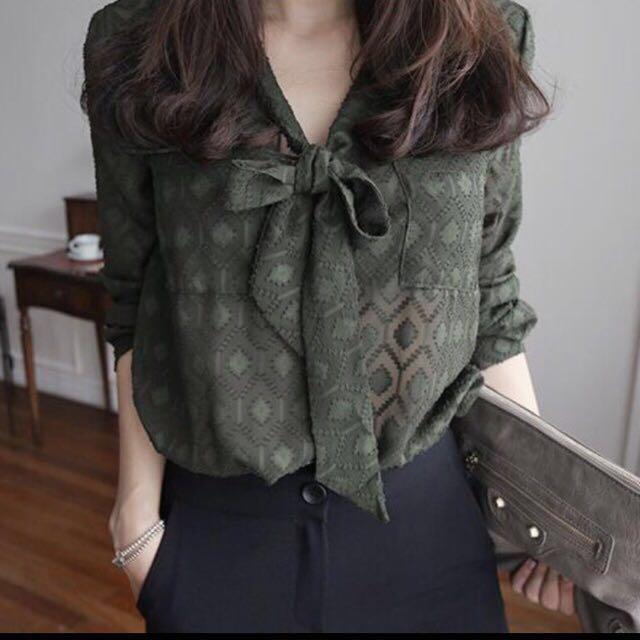 Olive green chiffon blouse