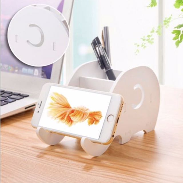Phone and pencil holder - white wooden elephant 🐘